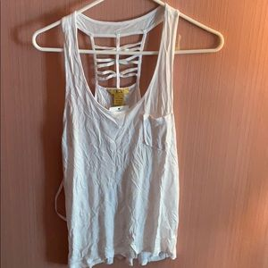 NWT white tank top with ladder back
